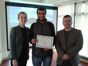 Amjed receiving his award for oustanding achievement in Mathematics from DIFC Principal Eimear Morhan and NCUK's Alan White.