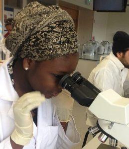 Rumaysa Bugaje hard at work in the lab