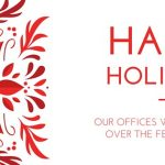 Image of red leaves to the left and text saying happy holidays on the right