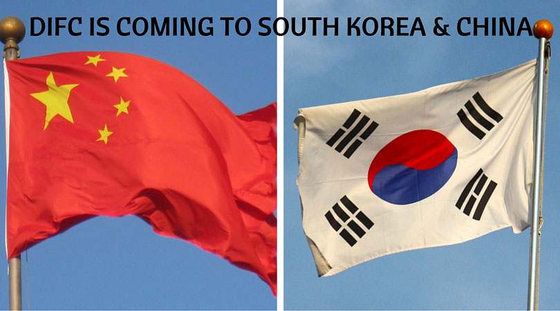 South Korean and Chinese flags