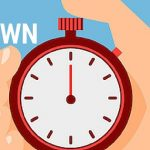 Blue background, cartoon hand, holding a cartoon stop watch, with text the final countdown