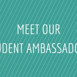 Green background, white diagonal lines, with text - meet our student ambassadors