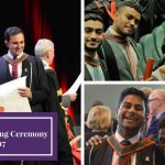 Three images in a collage, images of students receiving their degrees and images of students wearing their graduation gowns