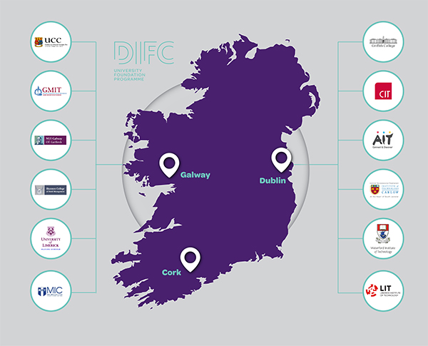 Map of Ireland with University logos